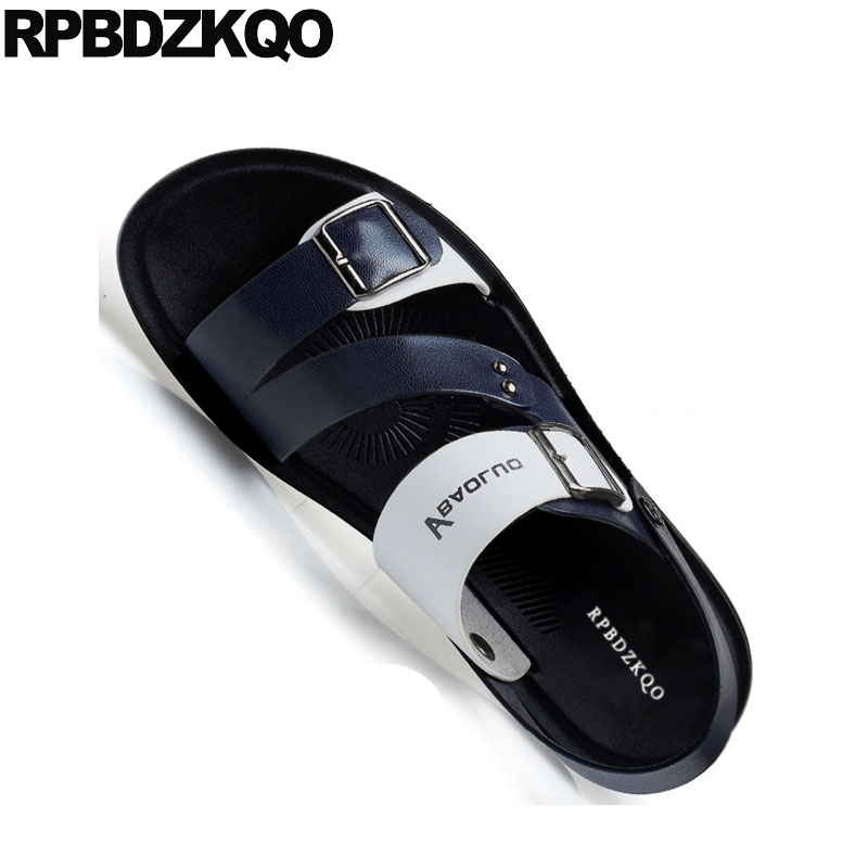 Slides Size 46 Waterproof Metal Plus Flat Slip On Shoes Men Sandals Leather Summer Blue 45 Fashion Strap Slippers 2019 Native