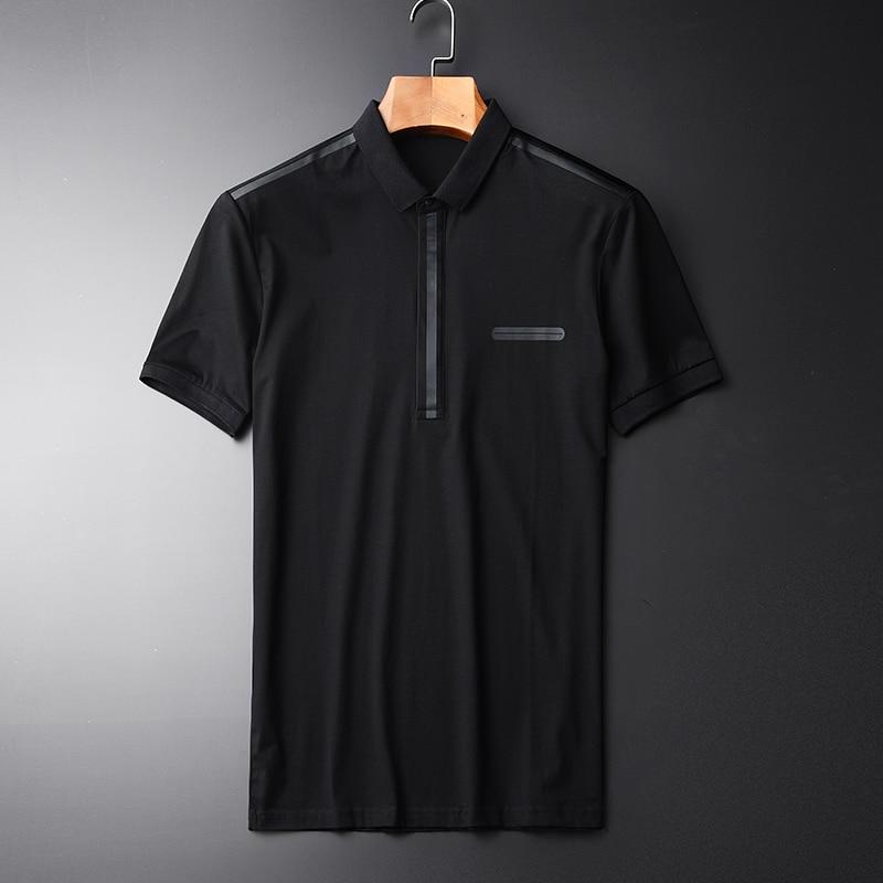 Minglu Mercerized Cotton Fabric Men's Fashion T shirts New Turn Down Collar Black Rubber Printed Men's Casual T shirts M L 2XL