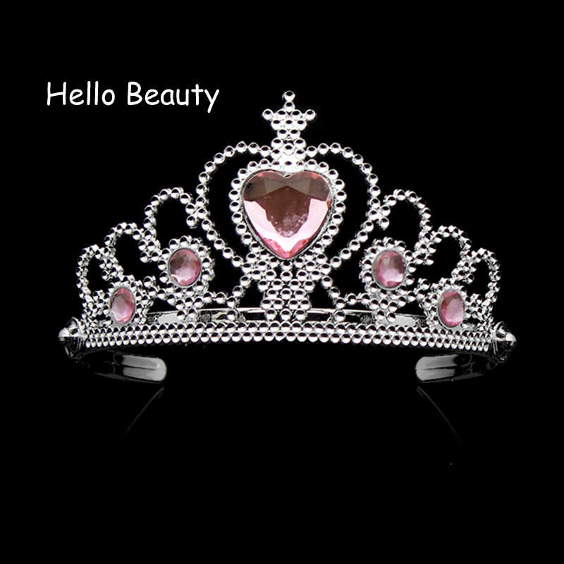 Lovely Pink Girls Plastic Hairband Rhinestone Princess Crown Headband Heart Birthday Tiara For Children Hair Accessories