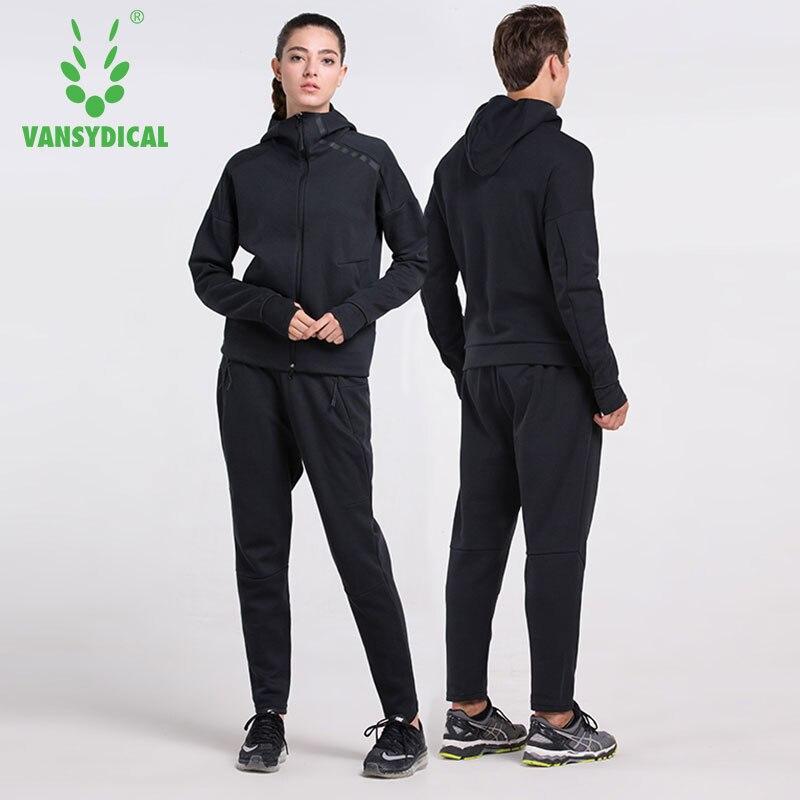 2ce21880ce Trajes deportivos de invierno Vansydical ropa de gimnasio para hombres y  mujeres conjunto para correr al aire libre con capucha ropa de entrenamiento  de ...