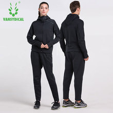Vansydical Winter Mens Womens 100% Cotton Sports Suits Hoodies+Pants Fitness Sportswear Lovers Training Running