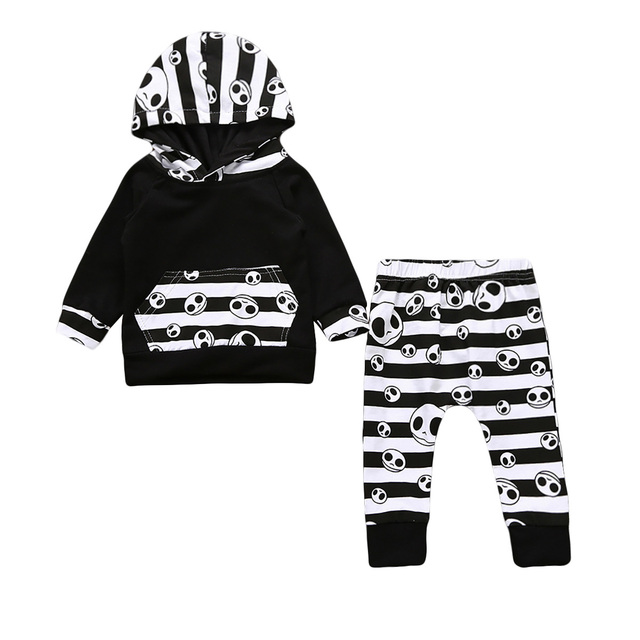aaa850e7dfee Pudcoco 2017 Halloween Toddler Baby Boys Tops Hoodie Skull Striped ...