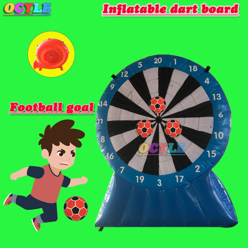 US $418 0 |OCYLE Blue child use 2 5m/8 2ft height inflatable dart board  inflatable football soccer dart board inflatable soccer darts game-in