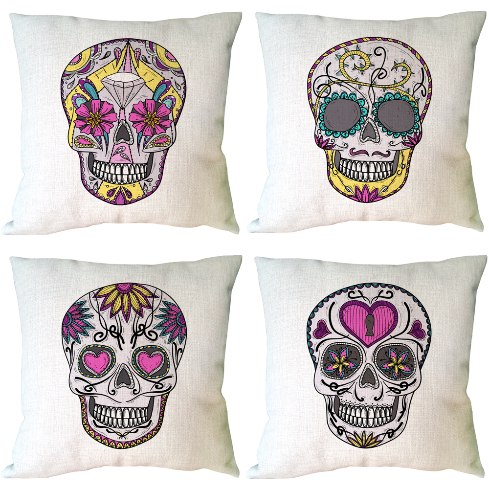 Funny Skull Print Custom Accent Linen Throw Pillows Decorative Cushion Covers For Sofa P ...