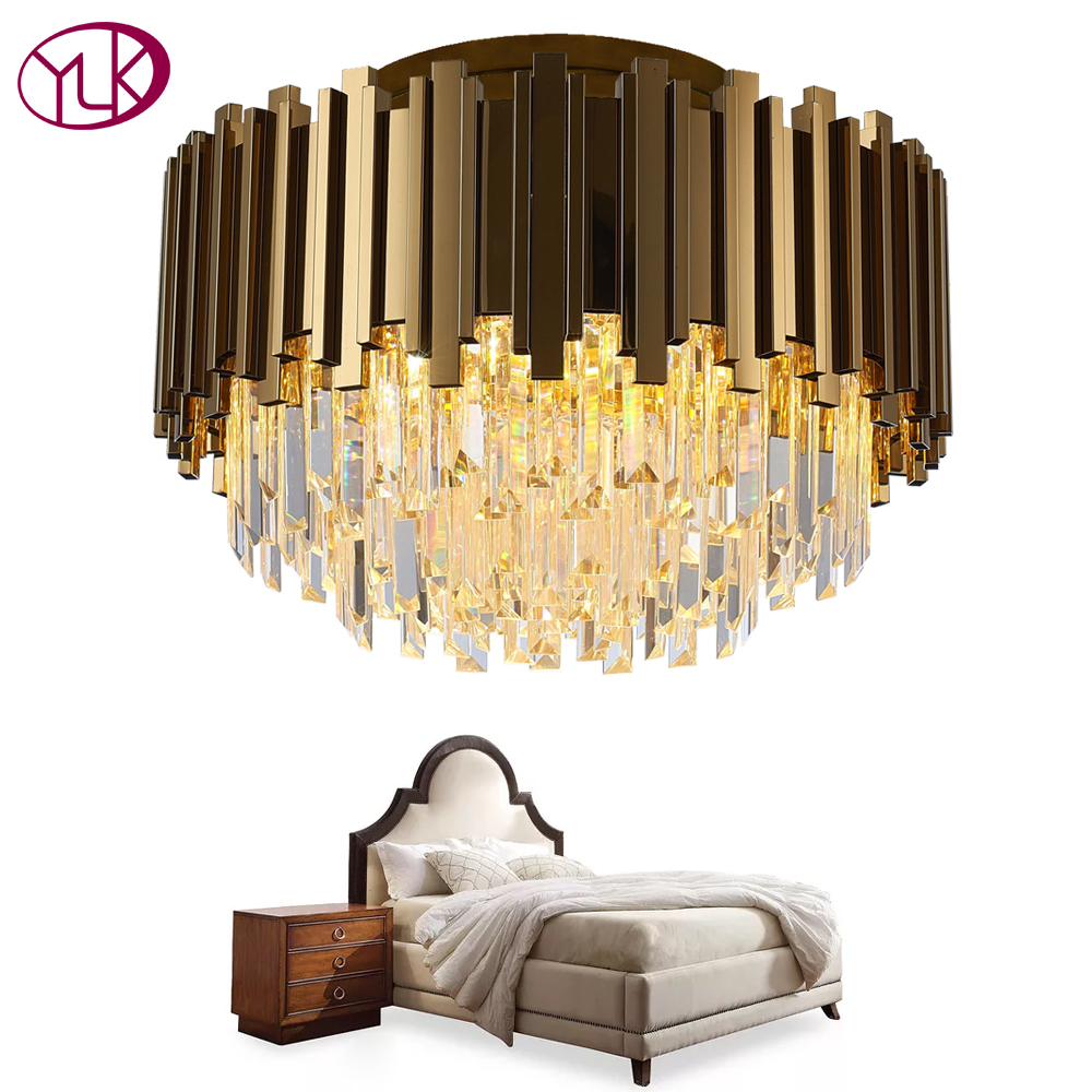 где купить Youlaike Luxury Gold Chandelier Lighting AC110-240V LED Cristal Lustres For Ceiling Bedroom Living Room Crystal Lamp дешево