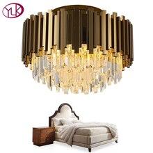 Youlaike Роскошная золотая люстра освещение AC110-240V светодиодный хрустальная люстра для потолка спальни гостиной хрустальная лампа
