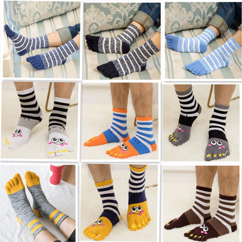 1 Pair Five Fingers Socks Men's Cotton Male Cartoon Cute Stripe Toe Socks title=