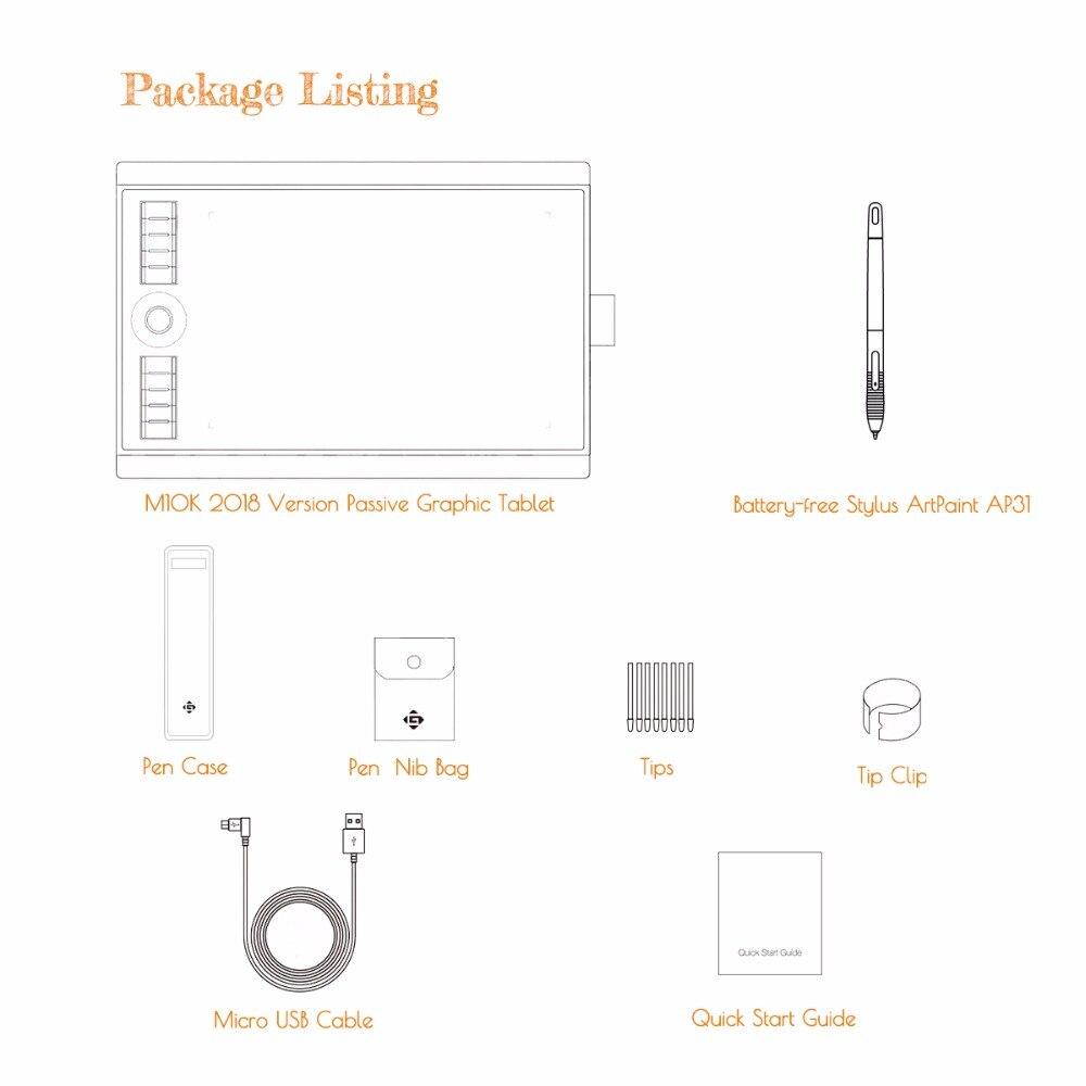 GAOMON M10K 2018 Version 10x6.25 Pouces Art Numérique tablette graphique pour Dessin avec 8192 Niveau Stylo Pression Passive Stylus - 6