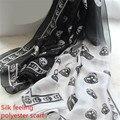 LGFD98 90 cm de ancho mujeres del cráneo de la impresión Del color del Gradiente negro Wraps sill feeling poliéster bufanda pashmina
