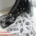 LGFD98 90cm wide women skull  print  Gradient color  black  Wraps  sill feeling polyester scarf pashmina