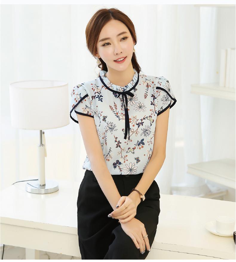 HTB1pXK0PVXXXXcRXXXXq6xXFXXXY - Summer Floral Print Chiffon Blouse Ruffled Collar Bow Neck Shirt