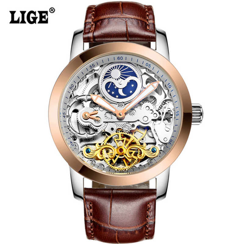 LIGE Brand Men's watches Moon phase Tourbillon Hollow Automatic   Waterproof Casual Business Leather Wrist