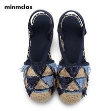 цены MInmclas Sequined Women Sandals Bling Linen Canvas Wedge Sandals Summer Ankle Strap Med Heel Platform Pump Espadrilles Shoes