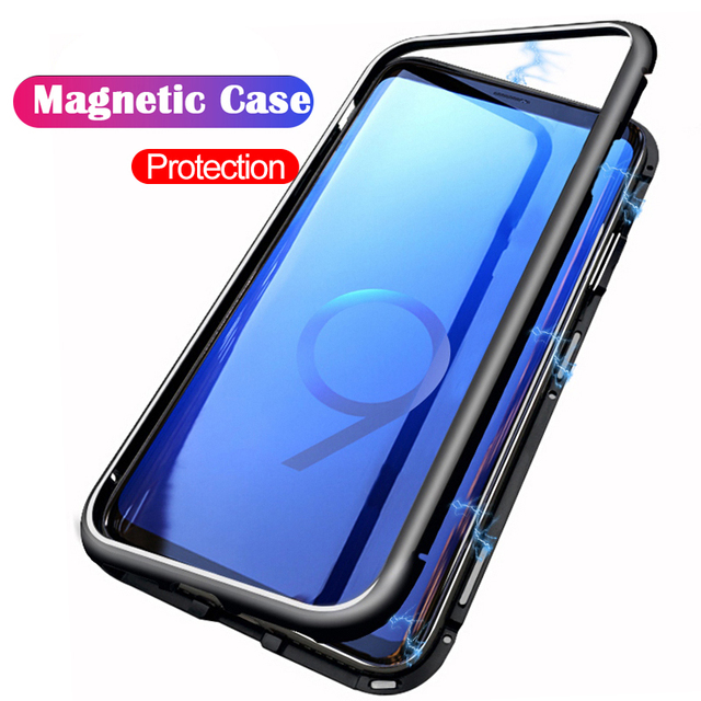 the best attitude 96fc6 ac652 US $7.3 15% OFF|For Samsung Galaxy S9 Case Original Magnetic Attraction 9H  Tempered Glass Back Cover For Samsung S9 Plus Cases Fundas S9+-in Fitted ...