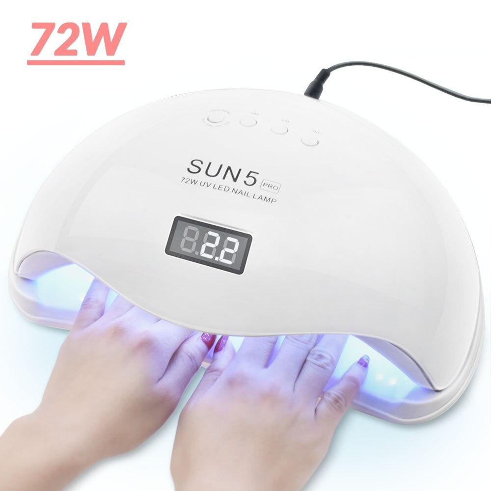 72/54/45W UV Lamp Gel LED Nail Lamp High Power For Nails All Gel Polish Nail Dryer Sensor Sun Led Light Nail Art Manicure Tools