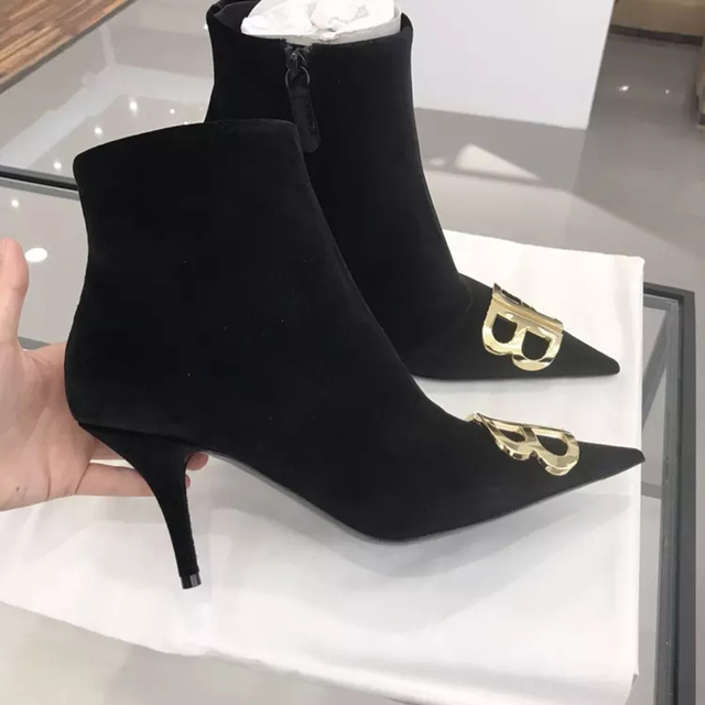 222a8e2155 Knife logo-embellished velvet ankle boots Pointy Toe kitten Heel Ladies  Pumps Street Style Autumn Women Boots Short Booties