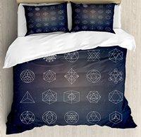 Sacred Geometry Duvet Cover Set Alchemy Spirituality Icons Ancient Esoteric Mystical Figures Set 4 Piece Bedding Set