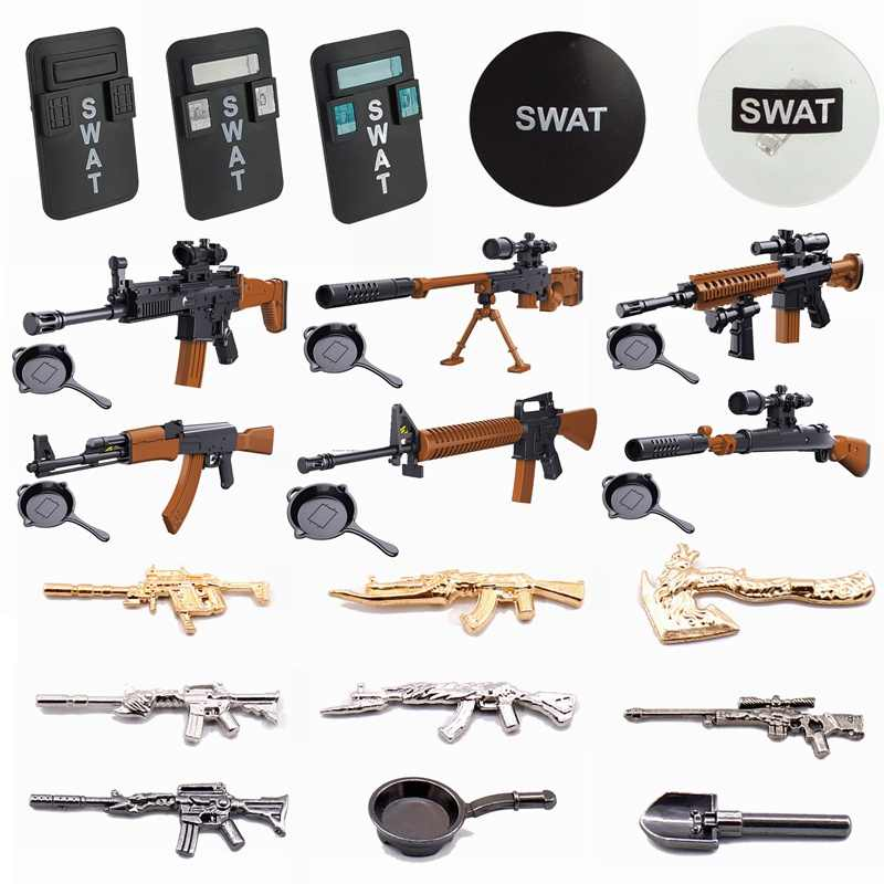 Legoing Blocks Military SWAT Shield Toy Guns Single Sale Building Blocks Toys For Children Military Blocks SWAT Army Toy Gifts