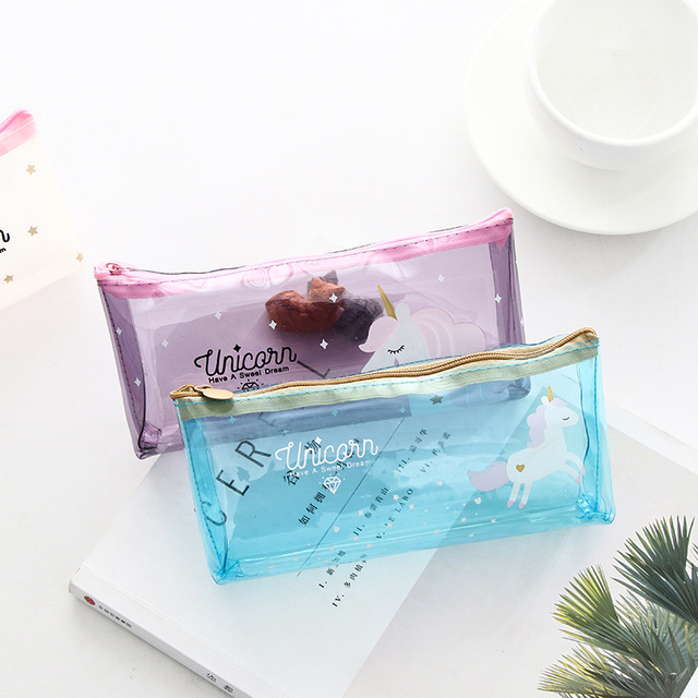 2018 new pencil case Cartoon unicorn School office student stationery transparent smooth soft PVC bag pen box gift Papelaria Pencil Cases