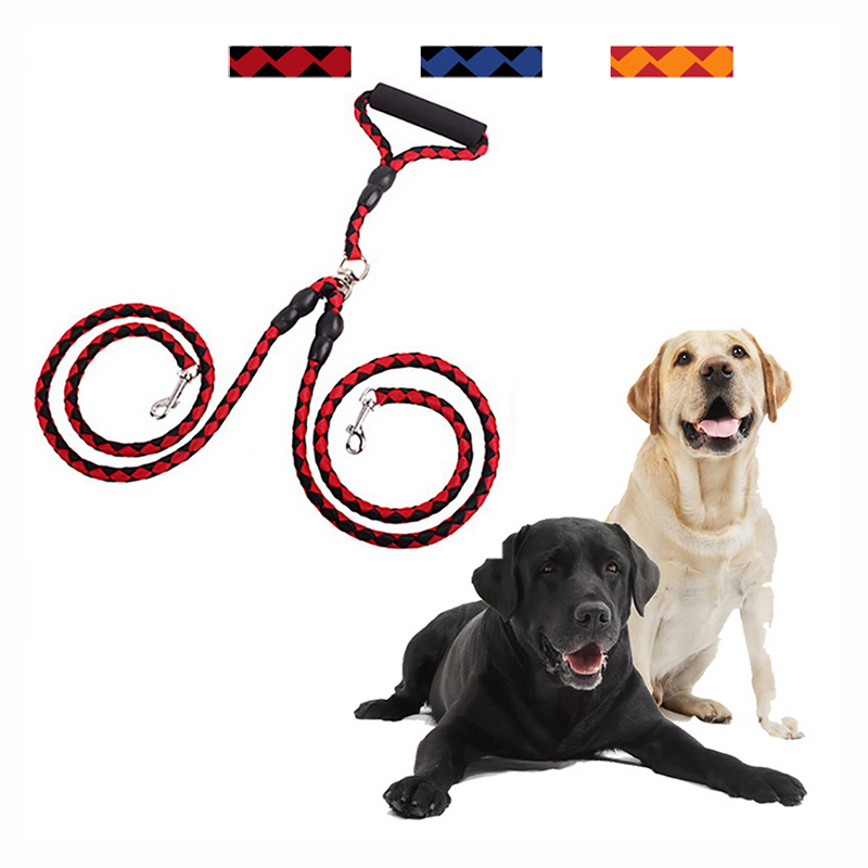 Hoomall 130CM Hand-Made Double Dog Leashes Harness Braided Tangle Free Leash Coupler For Two Dogs Training Dog Accessories