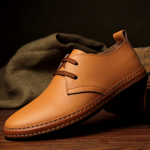 Fashion Spring/Autumn Men Genuine Leather Wedding Shoes 2017 Round Toe Lace-Up Solid Flats Men's Casual Shoes Luxury Brand 38-44