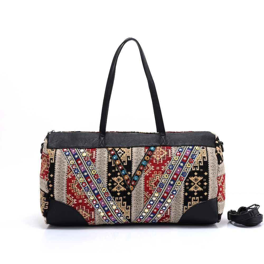 6f209dcbd4b0 Женские ручной работы богемный Бохо хиппи ведро сумки цветочный узор  вышивки сумка хлопчатобумажная ткань национального этнические