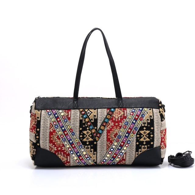 72b233e826c4 US $34.11 5% OFF|women handmade Bohemian Boho hippie bucket Handbag flower  pattern Embroidery shoulder bag Cotton Fabric national ethnic bags-in ...