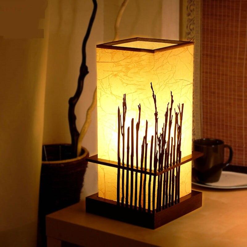 Современный китайский стиль бамбука настольные лампы творческая гостиная спальня ночники глаз исследования древесины настольные лампы ...
