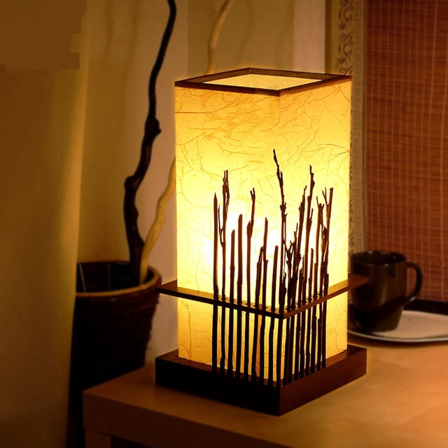 Wonderful Modern Chinese Style Bamboo Table Lamps Creative Living Room Bedroom  Bedside Lamp Eye Study Wood Table