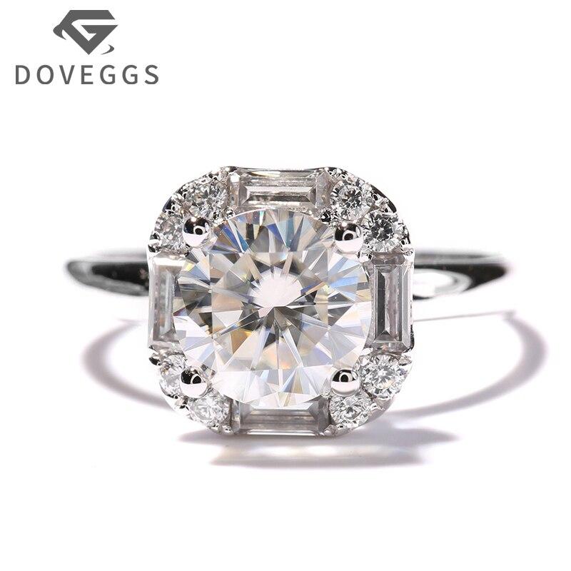 14 К 585 Белое золото 1 карат КТ GH Цвет Лаборатория Grown Moissanite кольцо с бриллиантом Halo Обручение обручальное кольцо с акценты для Для женщин