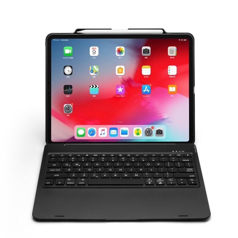 """טלויזיות פלזמה LCD [חדש] מקרה מקלדת Bluetooth אלחוטית עבור iPad אפל 12.9"""" פרו 2018, תחשוב מקלדת עם 7-צבע תאורה אחורית ו Smart Sleep / Wake-up (1)"""