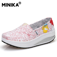 Minika Women Casual Canvas Shoes Walking Durable High Quality 2017 Breathable Platform Slimming Wedges Swing Shoes