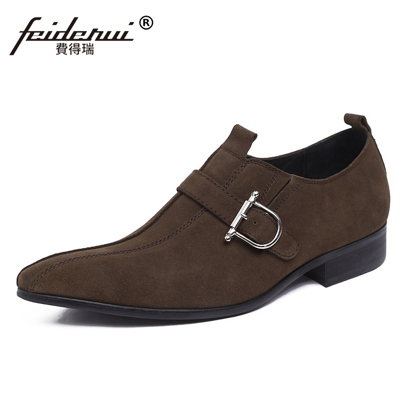 Elegant Pointed Suede Man Formal Dress Shoes Genuine Leather Male Italian Oxfords Luxury Brand Men's Wedding Bridal Flats GK26 relikey brand men casual handmade shoes cow suede male oxfords spring high quality genuine leather flats classics dress shoes