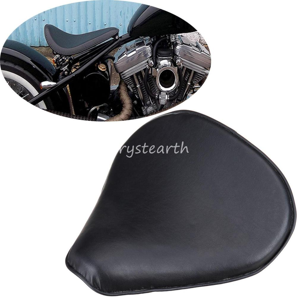 Leather 13.4 x 13.8 Black Solo Seat For Honda Yamaha Kawasaki Suzuki Sportster Bobber Chopper Custom
