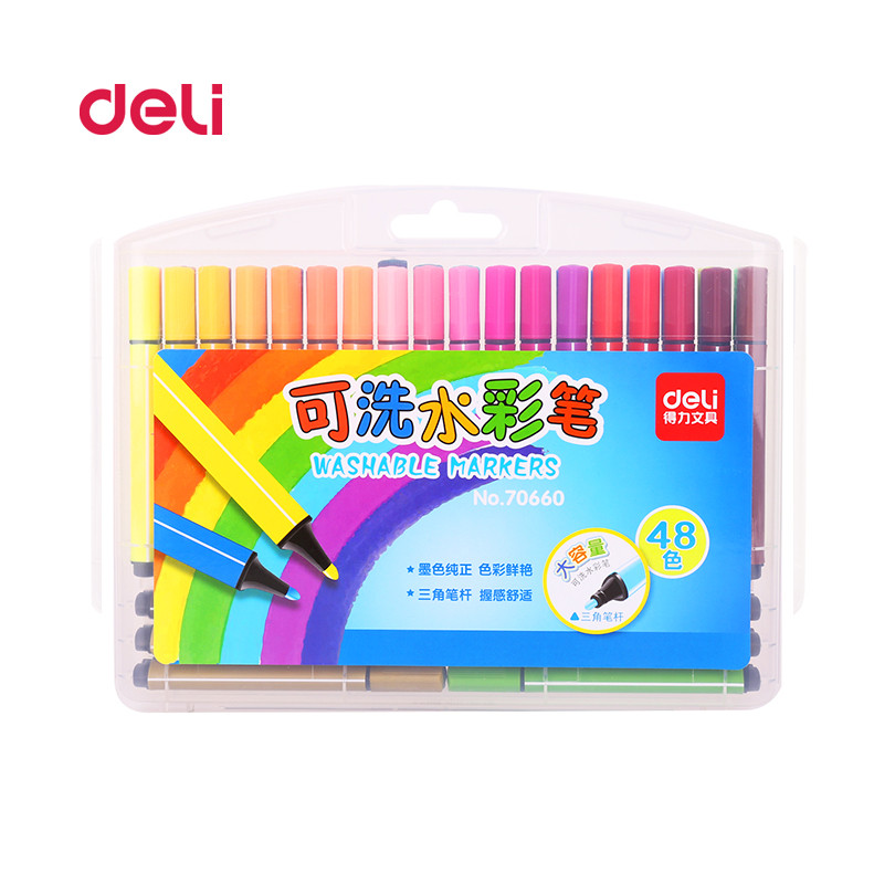 Deli 48 colors waterColor Pen Art Fine Professional Drawing pen stationer Water color Pen Art Crayons students Painting Supplies faber castell 30 colors cute creative colorful crayons connector watercolor gel pen for drawing art stationery supplies