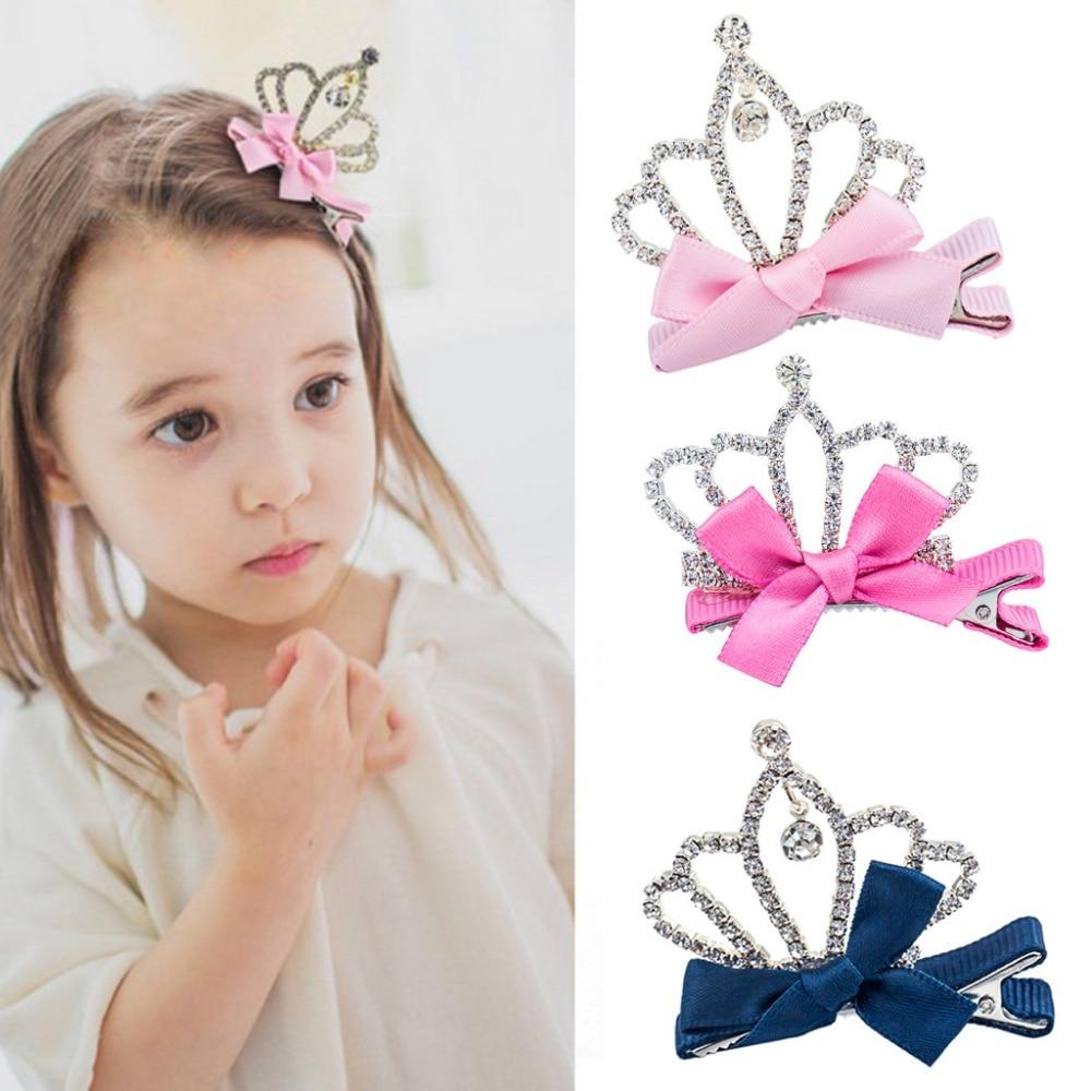 1 PC Bow Princess Hairpin New Fashion Crystal Hair Clips Crown Hair Accessories Rhinestone Girl Party Birthday Barrette Jewelry аминалон таблетки 250мг 50 шт