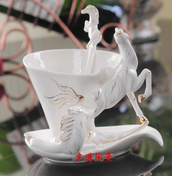 White Horse Enamel Coffee Cup Porcelain Mug Set Creative Ceramic ...