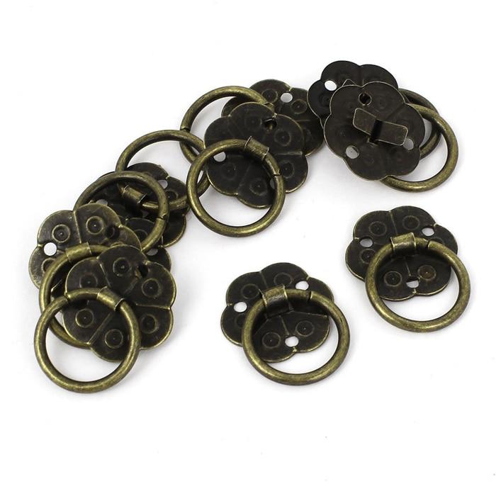 20mm Round Plum Flower Iron Ring Pull Handles Antique Wooden Box ...