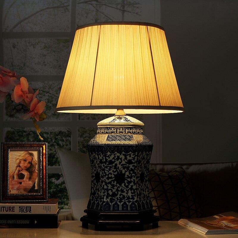 Винтажный стиль фарфоровые керамические настольные лампы для прикроватной тумбочки китайский синий и белый фарфор синий фарфор настольная лампа - 2