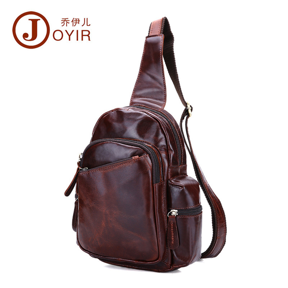 JOYIR genuine leather Men Bag Leisure fashion Chest Pack Vintage Zipper Crossbody Bags male Travel bags messenger bags 2017 new westal men s travel phone chest pack genuine leather men bag men messenger shoulder bags leather belt waist bag crossbody bags