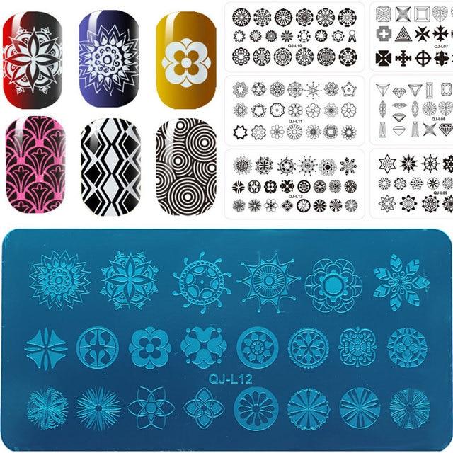 1Pcs DIY Designs Flower Tree Steel Plates Nail Stencils Polish Templates Image With White