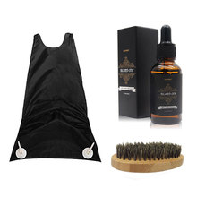 100% Natural Beard Oil for Mustache Care with Beard Catcher and Wooden Brush as well as Skin Conditioner Beard Nurse Set