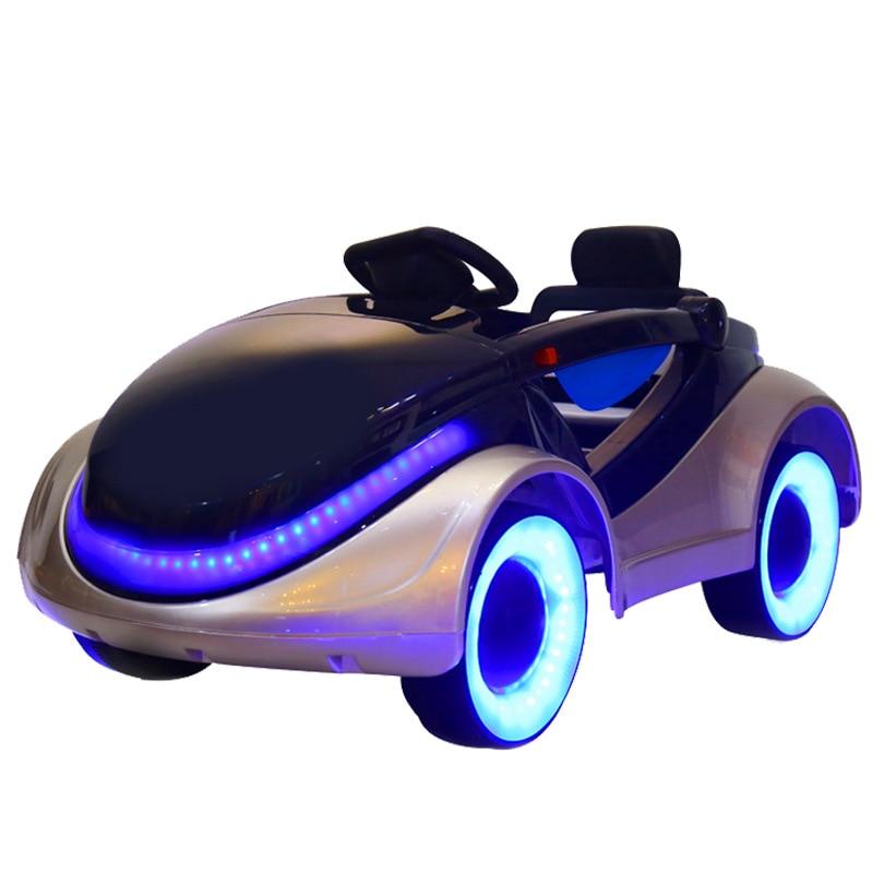 Télécommande jouets voiture véhicule enfants quatre roues monter sur voiture bébé monter sur jouet voiture Double moteur enfants LED Flash roues voiture RC
