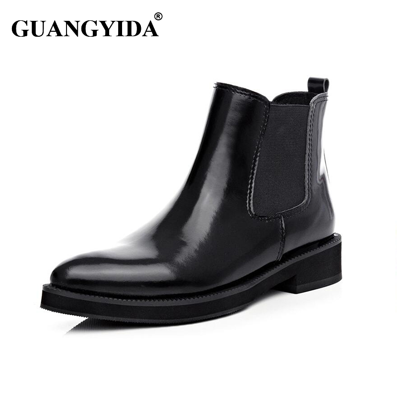 ФОТО 2016 New Fashion Genuine Leather Women Boots Slip- On Solid Sewing Boots Women Shoes Botines Mujer Botas Femininas 290