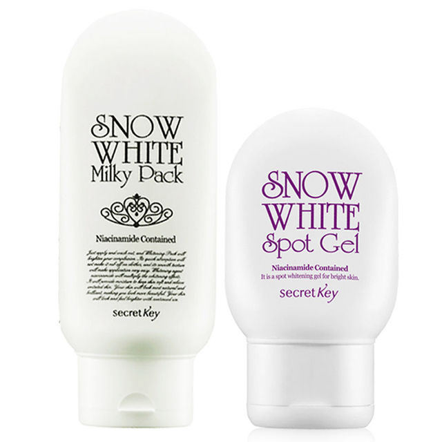 SECRET KEY Snow White Milky Pack 200ml + Snow White Spot Gel 65g Face Cream Whitening Skin Set Body Cream Korea Comestics