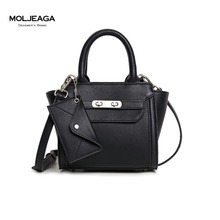 MOLJEAGA Brand Women Lock Nubuck Leather Handbags Trapeze Bag Fashion Ladies Famous Brand Portable Purses Luxury