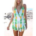 2016 popular summer boho style sweet print beach casual V-neck playsuits with Tassel back sexy jumpsuit rompers