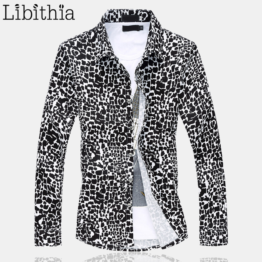 Leopard Men Casual Dress Shirt Big Size 5XL 6XL Long Sleeve Slim Fit Shirts Camisa Social Blouse Male Clothes Spring Autumn E514