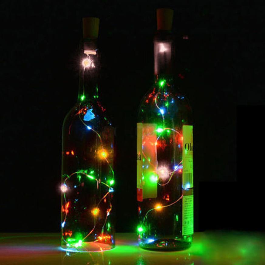2017 NEW Solar Wine Bottle Cork Shaped String Light 10 LED Night Fairy Light Lamp MR S919