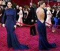 2015 Celebrity Dresses Mermaid High Collar Long Sleeves Backless Royal Blue Long Elegant Evening Dresses Red Carpet Dresses